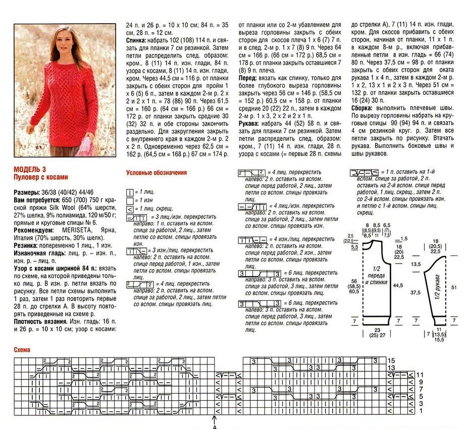 Вязание спицами свитеров женских с описанием спицами