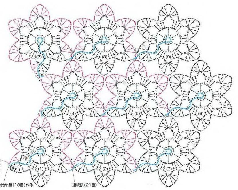 Безотрывное вязание крючком цветочки