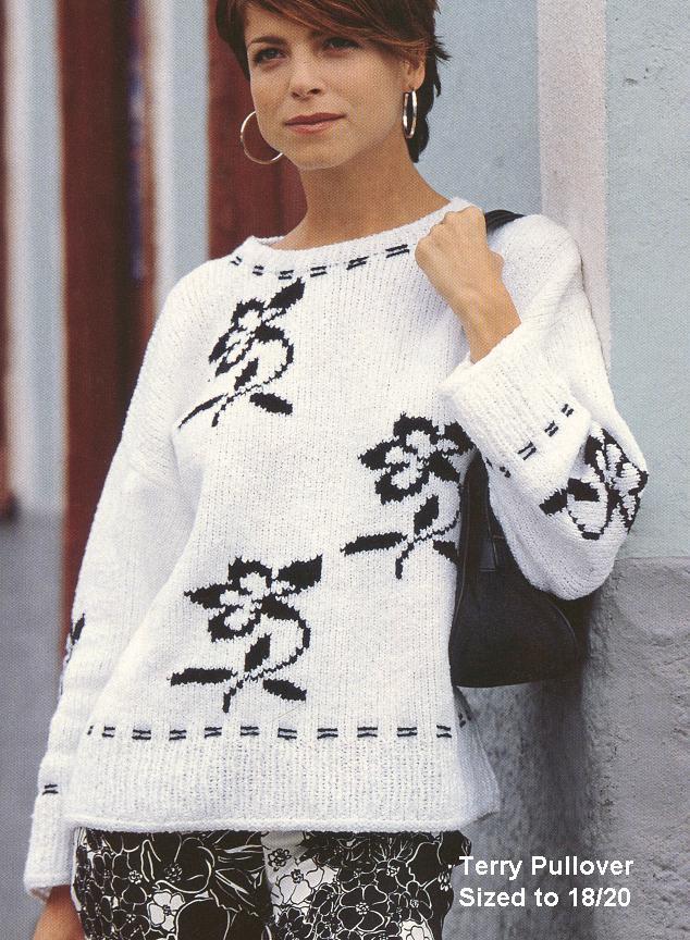 Белый Пуловер С Цветком